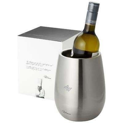 Picture of COULAN DOUBLE-WALLED STAINLESS STEEL METAL WINE BOTTLE COOLER in Silver