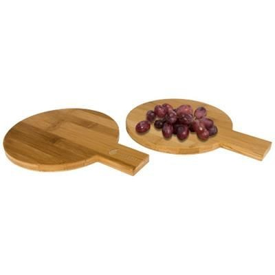 Picture of 2-PIECE BAMBOO AMUSE SET ROUND in Wood