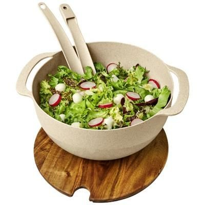 Picture of LUCHA WHEAT STRAW SALAD BOWL with Servers in Beige