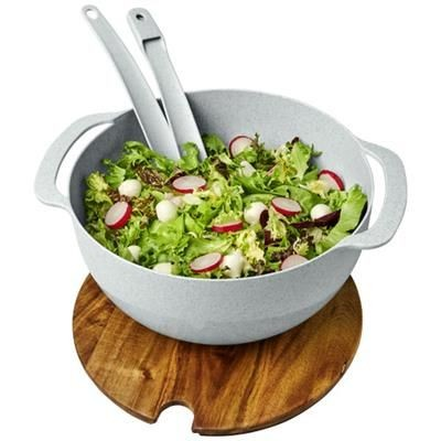 Picture of LUCHA WHEAT STRAW SALAD BOWL with Servers in Grey