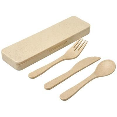 Picture of BAMBERG BAMBOO FIBRE CUTLERY SET in Beige