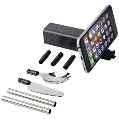 Picture of GALEN WHEAT STRAW CUTLERY SET with Mobile Phone Holder in Black Solid