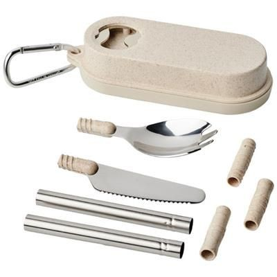 Picture of GILES WHEAT STRAW CUTLERY SET with Bottle Opener in Beige