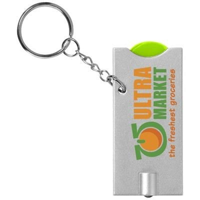 Picture of ALLEGRO LED KEYRING CHAIN LIGHT with Coin Holder in Lime-silver