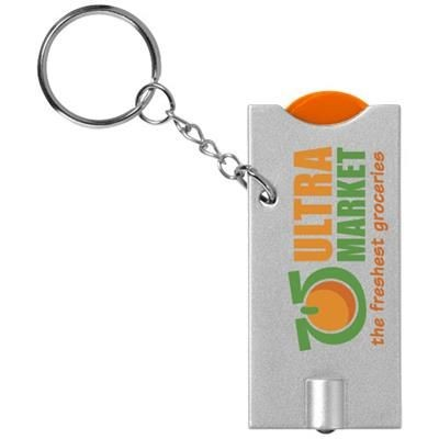 Picture of ALLEGRO LED KEYRING CHAIN LIGHT with Coin Holder in Orange-silver