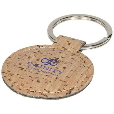 Picture of CORK-LOOK ROUNDED KEYRING CHAIN in Natural