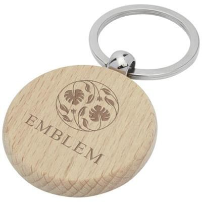 Picture of GIOVANNI BEECH WOOD ROUND KEYRING CHAIN in Wood
