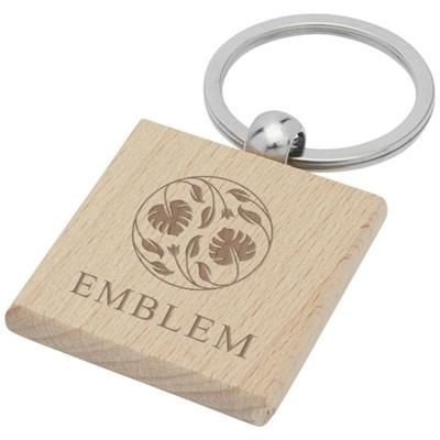 Picture of GIOIA BEECH WOOD SQUARED KEYRING CHAIN in Wood