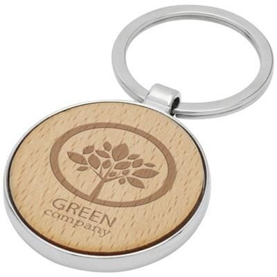 Picture of MORENO BEECH WOOD ROUND KEYRING CHAIN in Wood