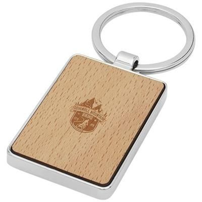 Picture of MAURO BEECH WOOD RECTANGULAR KEYRING CHAIN in Wood