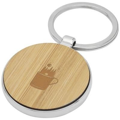 Picture of NINO BAMBOO ROUND KEYRING CHAIN in Wood