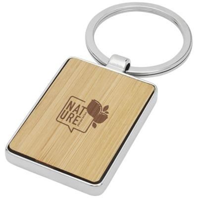 Picture of NETA BAMBOO RECTANGULAR KEYRING CHAIN in Wood