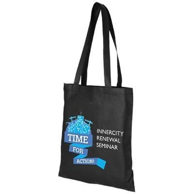 Picture of ZEUS LARGE NON-WOVEN CONVENTION TOTE BAG in Black Solid