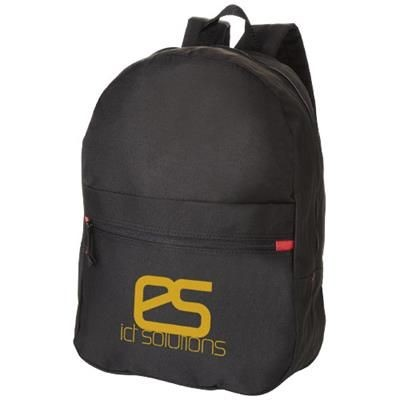 Picture of VANCOUVER DUAL FRONT POCKET BACKPACK RUCKSACK in Black Solid