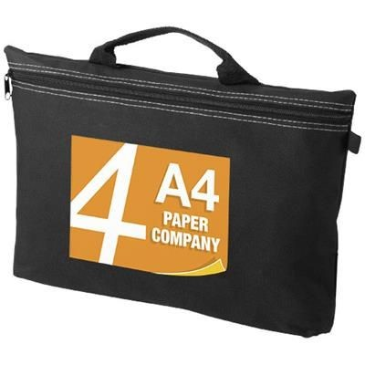 Picture of ORLANDO ZIPPERED CONFERENCE BAG with Pen-Loop in Black Solid