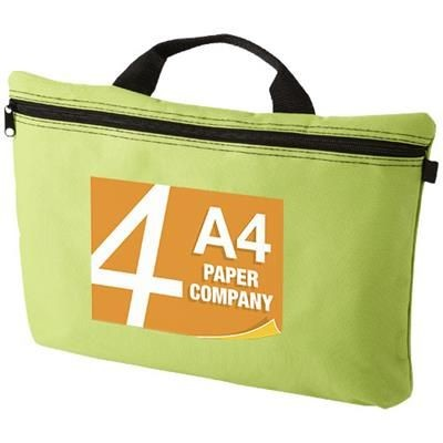 Picture of ORLANDO ZIPPERED CONFERENCE BAG with Pen-Loop in Lime