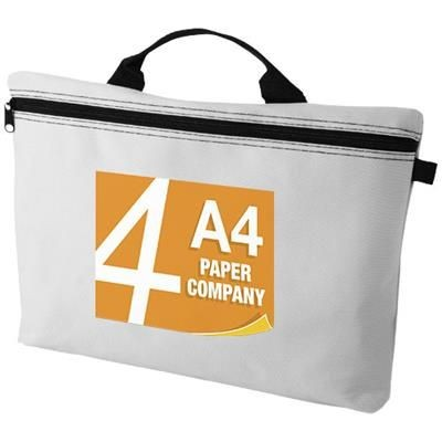Picture of ORLANDO ZIPPERED CONFERENCE BAG with Pen-Loop in White Solid