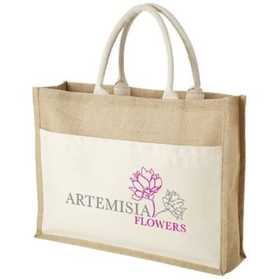 Picture of MUMBAY COTTON POCKET JUTE TOTE BAG in Natural