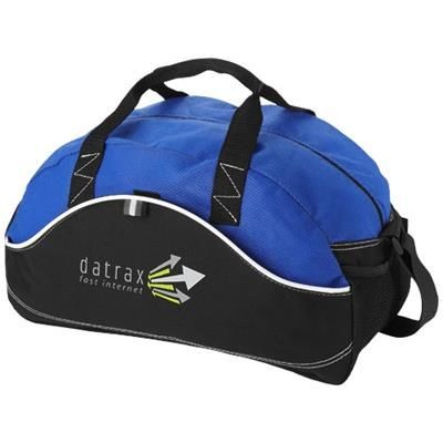 Picture of BOOMERANG DUFFLE BAG in Black Solid-royal Blue