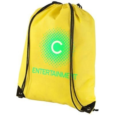 Picture of EVERGREEN NON-WOVEN DRAWSTRING BACKPACK RUCKSACK in Yellow