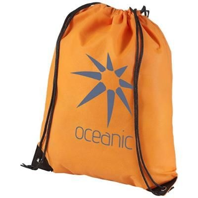 Picture of EVERGREEN NON-WOVEN DRAWSTRING BACKPACK RUCKSACK in Orange