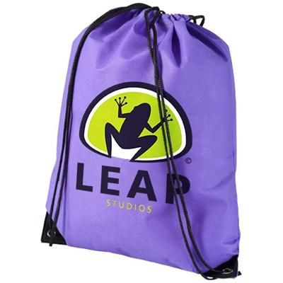 Picture of EVERGREEN NON-WOVEN DRAWSTRING BACKPACK RUCKSACK in Purple