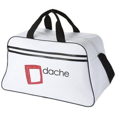 Picture of SAN JOSE 2-STRIPE SPORTS DUFFLE BAG in White Solid