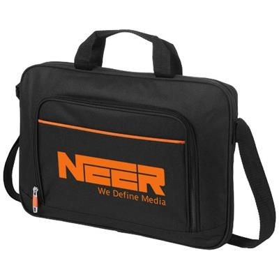 Picture of HARLEM 14 LAPTOP CONFERENCE BAG in Black Solid-orange