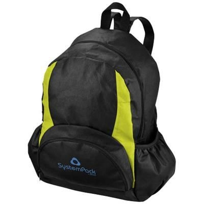 Picture of BAMM-BAMM NON WOVEN BACKPACK RUCKSACK in Black Solid-apple Green