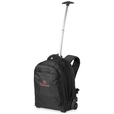 Picture of LYNS 17 LAPTOP TROLLEY BACKPACK RUCKSACK in Black Solid