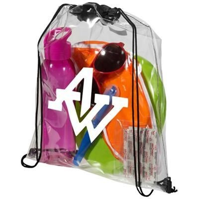 Picture of LANCASTER CLEAR TRANSPARENT DRAWSTRING BACKPACK RUCKSACK in Transparent Clear Transparent