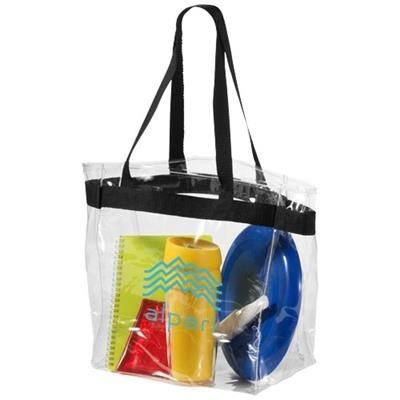 Picture of HAMPTON CLEAR TRANSPARENT TOTE BAG in Black Solid