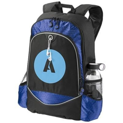 Picture of BENTON 15 LAPTOP BACKPACK RUCKSACK with Headphones Port in Black Solid-royal Blue