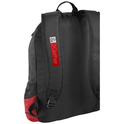 Picture of BENTON 15 LAPTOP BACKPACK RUCKSACK with Headphones Port in Black Solid-red