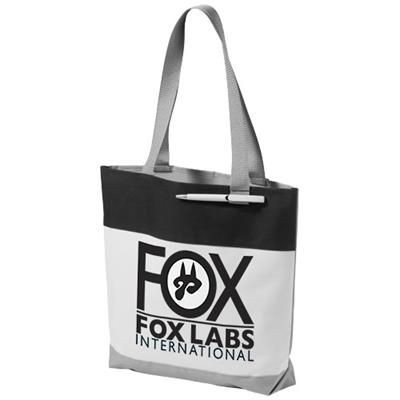 Picture of BLOOMINGTON COLOUR-BLOCK CONVENTION TOTE BAG in White Solid-black Solid