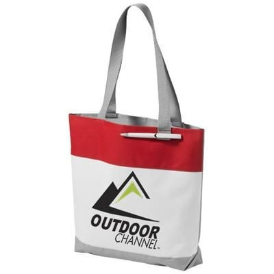 Picture of BLOOMINGTON COLOUR-BLOCK CONVENTION TOTE BAG in White Solid-red