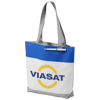 Picture of BLOOMINGTON COLOUR-BLOCK CONVENTION TOTE BAG in White Solid-royal Blue