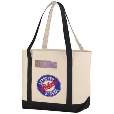 Picture of PREMIUM HEAVY-WEIGHT 610 G-M² COTTON TOTE BAG in Natural-black Solid