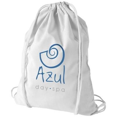 Picture of OREGON 100 G-M² COTTON DRAWSTRING BACKPACK RUCKSACK in White Solid