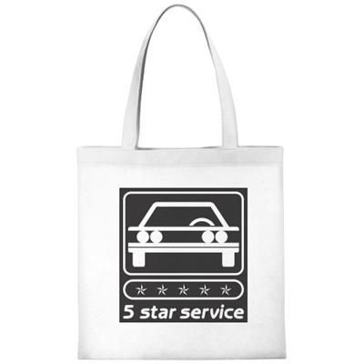 ZEUS SMALL NON-WOVEN CONVENTION TOTE BAG in White Solid
