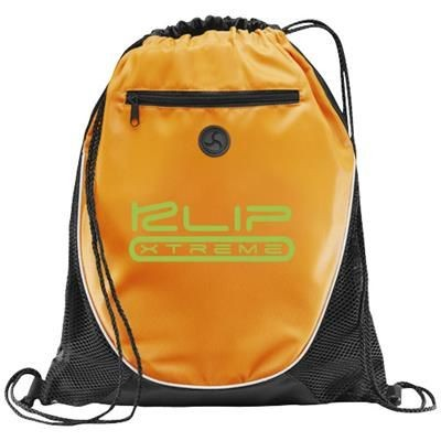Picture of PEEK ZIPPERED POCKET DRAWSTRING BACKPACK RUCKSACK in Orange-black Solid