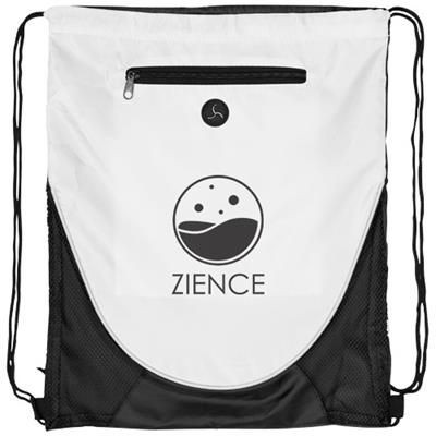 Picture of PEEK ZIPPERED POCKET DRAWSTRING BACKPACK RUCKSACK in White Solid