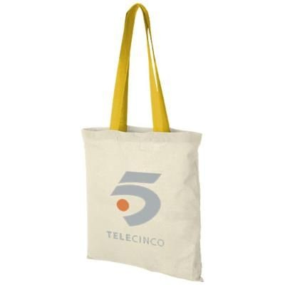Picture of NEVADA 100 G-M² COTTON TOTE BAG COLOUR HANDLES in Natural-yellow