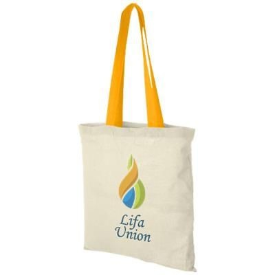 Picture of NEVADA 100 G-M² COTTON TOTE BAG COLOUR HANDLES in Natural-orange