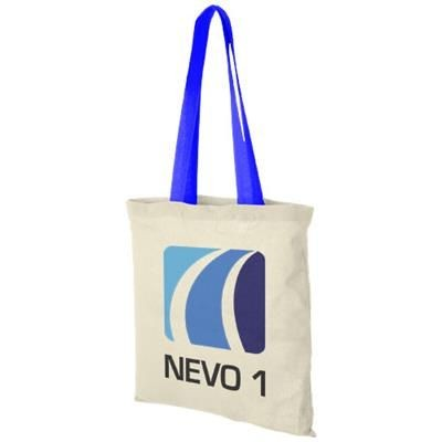 Picture of NEVADA 100 G-M² COTTON TOTE BAG COLOUR HANDLES in Natural-process Blue