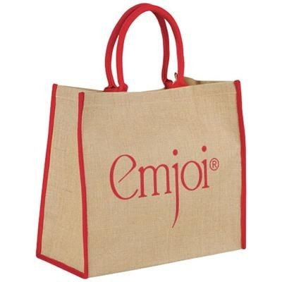 Picture of HARRY COLOUR EDGE JUTE TOTE BAG in Natural-red