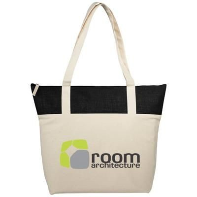 Picture of JONES 407 G-M² ZIPPERED COTTON AND JUTE TOTE BAG in Natural-black Solid