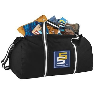 Picture of WEEKENDER COTTON TRAVEL DUFFLE BAG in Black Solid