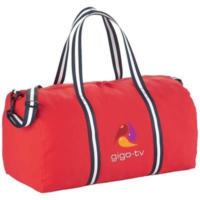 Picture of WEEKENDER COTTON TRAVEL DUFFLE BAG in Red
