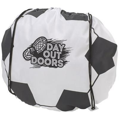 Picture of PENALTY FOOTBALL-SHAPED DRAWSTRING BACKPACK RUCKSACK in White Solid